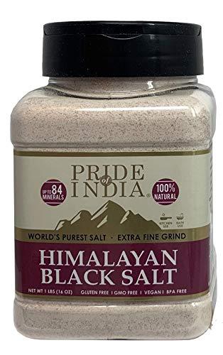 Pride Of India - Himalayan Black Salt (Kala Namak) Extra Fine, 1 Pound (16oz) Dual Sifter Jar