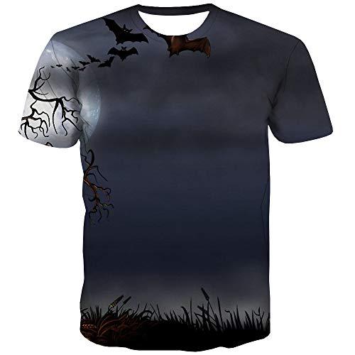 Camiseta de Halloween para hombre, diseño de luna, casual, árbol divertido, camiseta de murciélago, ropa de anime