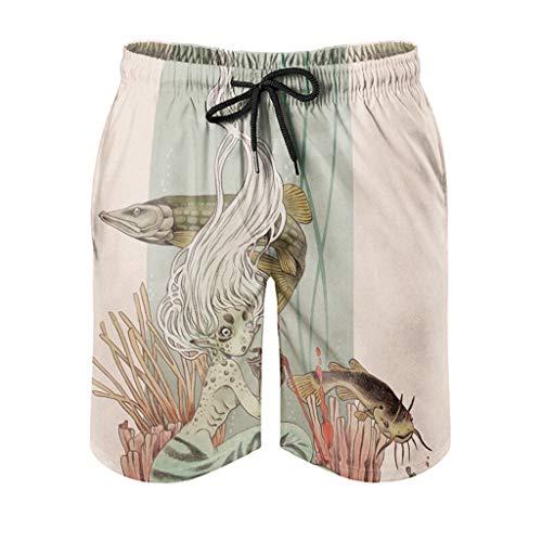 Bañador para hombre, estilo vintage, diseño de sirena, pescado, tortuga, pájaro, estampado con forro de bolsillo, cintura elástica, color blanco