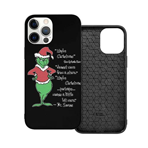 ZhangyJ Caja de teléfono Negra Maybe Christmas Grinch Thought Compatible con iPhone 12/12 Pro MAX Mini 6/6s 7/8 Plus X/XS XR 11 Pro MAX SE 2020 Samsung Huawei LG Series Caso