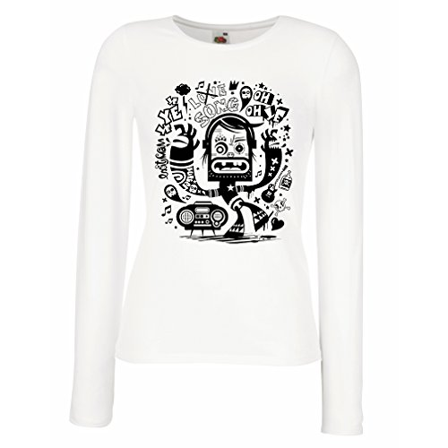 N4360M Mangas largas Camiseta de la Hembra Bailarina Friki (Medium Blanco Multicolor)