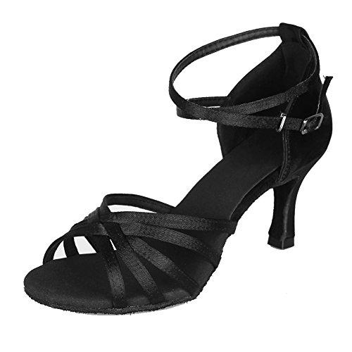 HIPPOSEUS Zapatillas de Baile Latino para Mujer/Satén/Altura del tacón 7CM,ES213-7,Negro Color,EU 36