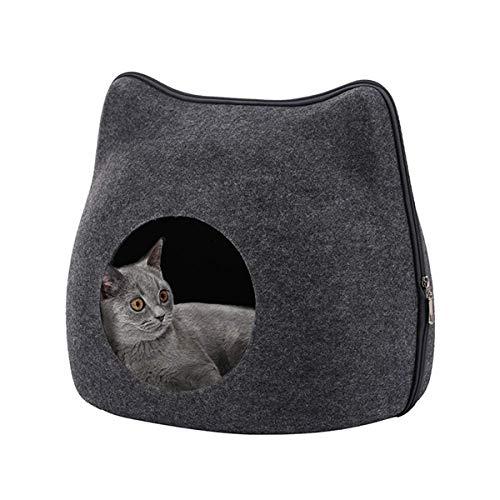 猫ハウス Rakuby 猫ベッド ドーム型 通気性抜群 お昼寝 ベッド 四季通用 おしゃれ 丈夫 可愛い猫耳型 ペッ...