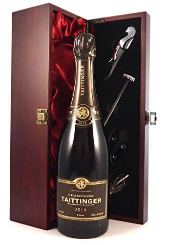 Taittinger Brut Millésimé Vintage Champagne 2014 in einer mit Seide ausgestatetten Geschenkbox, da zu 4 Weinaccessoires, 1 x 750ml