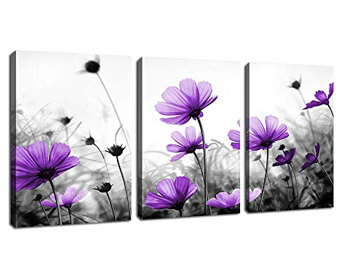 Flowers Wall Art Canvas Pictures Purple Wildflowers Black and White Background 3 Piece Canvas Art Blossom Contemporary Artwork for Home Decoration Office Kitchen Wall Decor 12'x 16' x 3 Panels