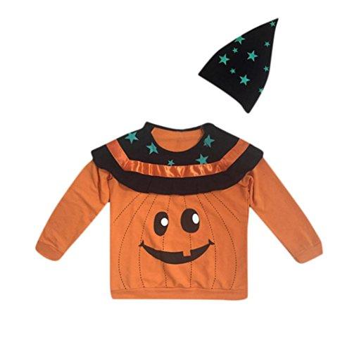 Hirolan Kleinkind Baby Halloween Pullover Sweatshirts Kinderbekleidung Lange Ärmel Babykleidung Sterne Print Top + Hut Outfit Festliche Babymode Taufe Hochzeit Weihnachten (140, Orange)