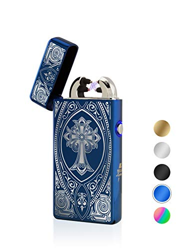 TESLA Lighter T08 Motiv Kreuz Blau Lichtbogen Feuerzeug USB Aufladbar Elektro Sturmfest Plasma Doppel-Lichtbogen mit Akku