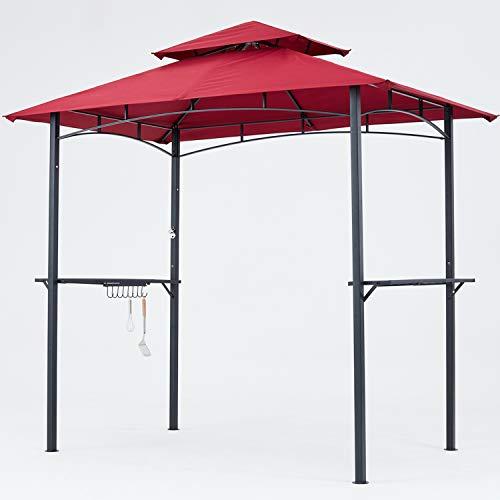 MASTERCANOPY Grill Gazebo 8 x 5 Double Tiered Outdoor BBQ Gazebo Canopy with LED Light Burgundy