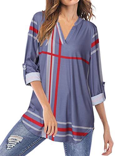 YOINS Elegancka bluzka damska bluzka z długim rękawem w kratkę koszula dekolt w szpic seksowny top Tie-Dye sweter bożonarodzeniowy