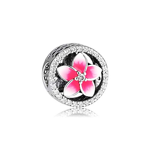 LIIHVYI Pandora Charms para Mujeres Cuentas Plata De Ley 925 Logo Jewelry Pink Flower Marca Floral con Rosa Pálido Compatible con Pulseras Europeos Collars