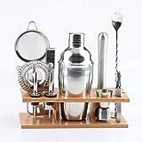 Estante JIALI cocina Gadgets de cocina Suministros 11 en 1 Herramientas de acero inoxidable Cocktail Shaker Set con montaje de madera, Capacidad: 750ml