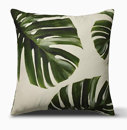 FAB HAB Cojín Decorativo Grande, 51 cm x 51 cm, Interior o Exterior, Cojín y Funda - Palm Leaves, Green
