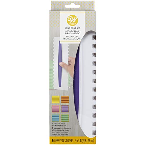 Wilton Icing Smoother Comb Set-3 Piece, White/Purple