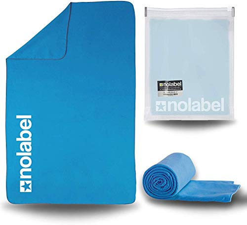 NO LABEL XL Lightweight Microfibre Swimming Towel - Extra Large Travel Towel - Blue Sports Towel Lightweight Quick Drying Compact Towel