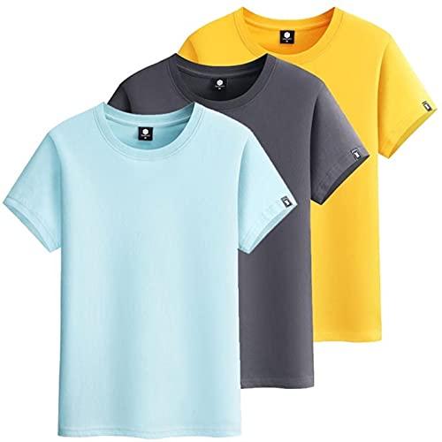 3個/ロットメンズTシャツ男性半袖TシャツコットンソリッドカラーカジュアルマンTシャツ夏-AGreen-DGray-Yellow,L