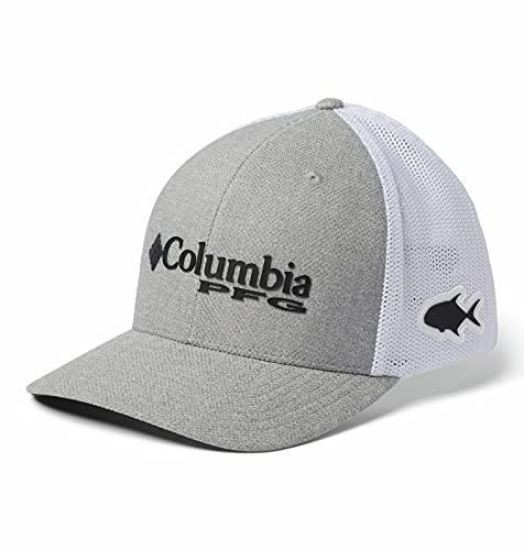 Columbia Unisex PFG Mesh Ball Cap, Cool Grey Heather/Black/Permit, S/M
