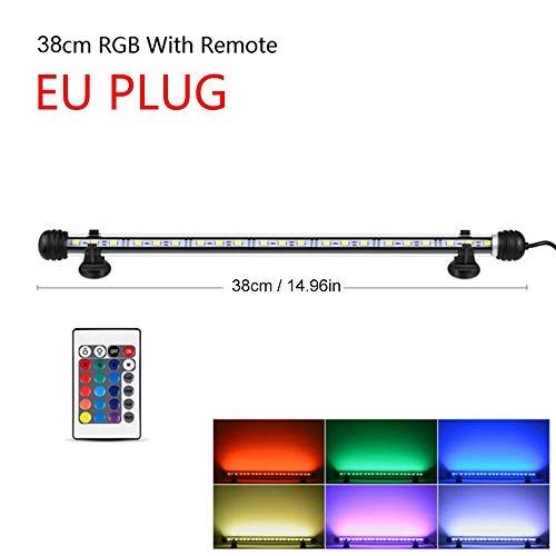 Luces de acuario Plantado acuario de iluminación de la lámpara de control remoto for acuario de peces marinos tanque ligero RGB iluminación del acuario Bluetooth (Color : 38cm EU Plug)