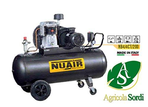 Nuair compressore bistadio 4hp d'aria a pistone in ghisa NB4/4CT/200 97kg filtro aria 200 litri