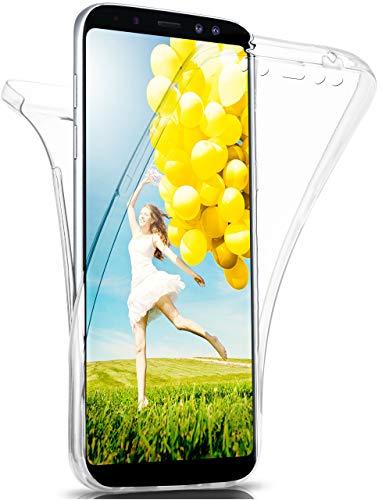 MoEx® Double Hülle kompatibel mit Samsung Galaxy A8 (2018) Hülle Silikon Transparent | Beidseitige Handyhülle mit 360 Grad Komplett R&um-Schutz, Transparent