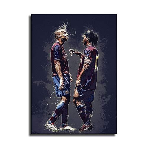 Ronaldinho und Henry Leinwand-Kunst-Poster und Wand-Kunstdruck, modernes Familienschlafzimmerdekor-Poster