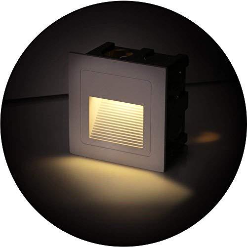 Topmo-plus Lot de 4 Lampe de Spot LED pour Terrasse 3W Eclairage Encastré Exterieur pour Chemin Contremarches d'escalier Piscine intérieurs extérieurs Spots Luminaires IP65 6 x 6 x 4,6CM (Blanc chaud)