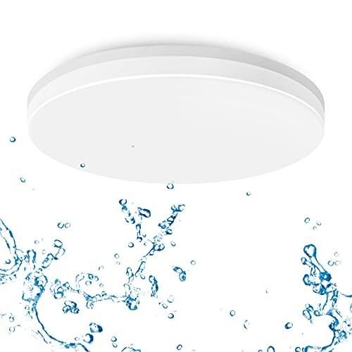 LVWIT Plafoniera LED 24W 2400LM IP65 Impermeabile,Lampada LED Soffitto 4000K Luce Bianca Neutra Tonda Piatta Ideale per Cucina,Camera da Letto,Balcone,Corridoio,Bagno,Soggiorno,Ø330mm*50mm