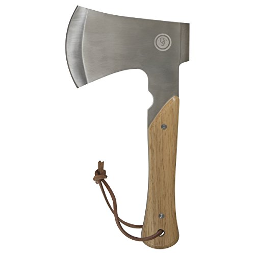 UST Heritage Camp Ax with Full Tang Design, Stainless Steel Blade and Leather Sheath for Chopping, Hiking, Camping, Backpacking and Outdoor Survival