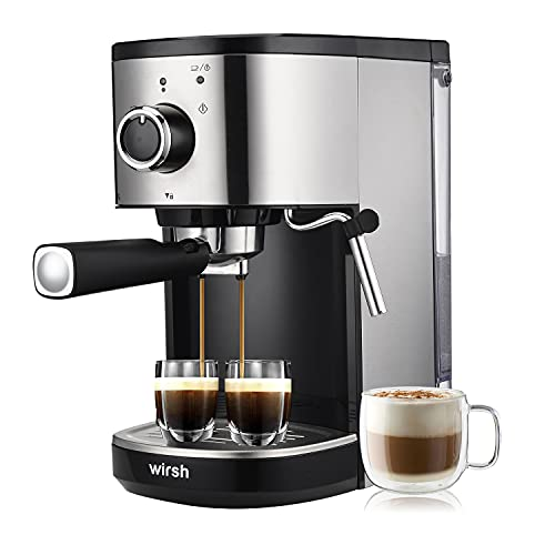 Wirsh Espresso Machine, 15 Bar Espresso Maker with Milk Frother for Espresso, Latte and Cappuccino, Expresso Coffee Machine with 42 oz removable water tank, Stainless Steel