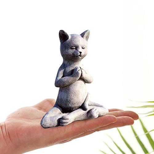 Mlide Cat Statues for Garden Mischievous Cat Garden Gnome Statue,Outdoor Garden Gnomes Buddha Meditation Cat Statue Best Art Décor for Indoor Home Or Office