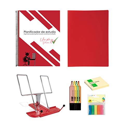 Pack organizador de estudio oposiciones selectividad exámenes. Incluye atril, post it, banderitas separadoras, rotuladores fluorescentes, carpeta de fundas y planner mensual/semanal.