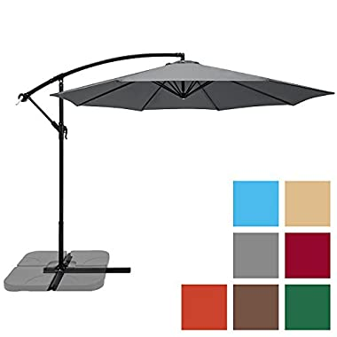 Best Choice Products 10ft Offset Hanging Outdoor Market Patio Umbrella - Gray