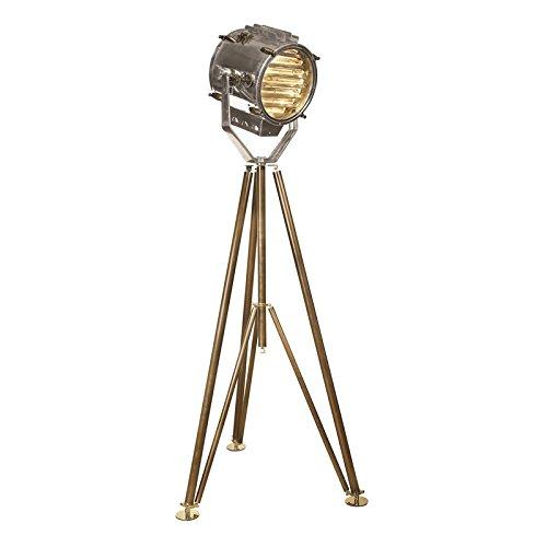 Authentic Models Stativ Stehlampe Marconi Morse-Scheinwerfer, Aluminium poliert/Messing, H 195 x Ø Fuß 100 cm