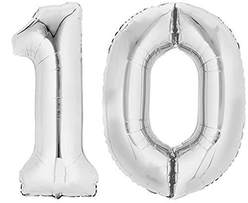 TopTen Folienballon Zahl 10 XL Silber ca. 70 cm hoch - Zahlenballon für Ihre Geburstagsparty, Jubiläum oder sonstige feierliche Anlässe (Zahl 10)