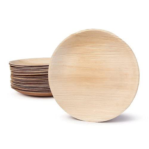 Platos desechables de hoja de palma | 25 unidades | Platos biodegradables de forma redonda | 6 pulgadas – 15 cm | Vajilla 100% natural de hoja de palma Areca.