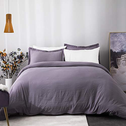 Bedsure Duvet Cover Queen Set with Zipper Closure, Washed Process Microfiber - Ultra Soft Full/Queen Size(90x90 inches)-3 Pieces (1 Duvet Cover + 2 Pillow Shams) Hypoallergenic, Grayish Purple