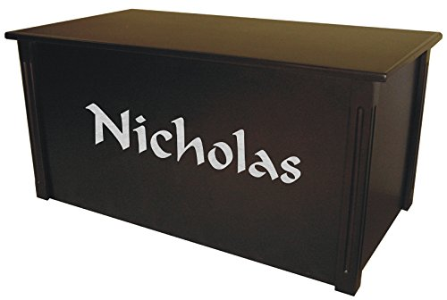 Wood Toy Box, Large Espresso Toy Chest, Personalized Calligraphy Font, Custom Options (Standard Base - Silver Lettering)