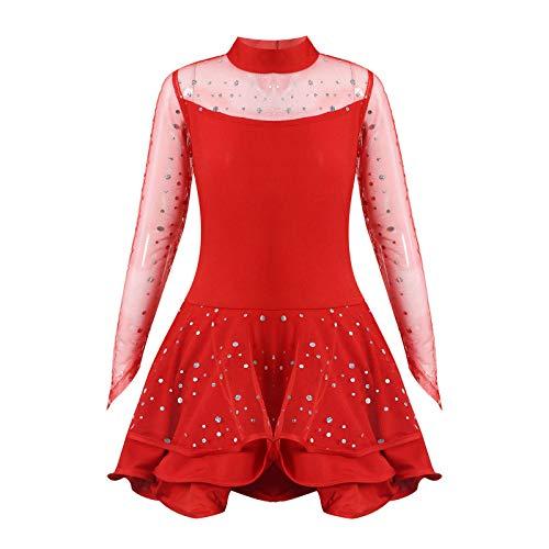dPois Vestido de Patinaje Maillot Gimnasia Ritmica Nia Maillot de Ballet Danza Manga Larga Leotardo de Patinaje Artstico Disfraz Bailarina Tutu Princesa Cuello Alto 4-14 Aos Rojo B 7-8 aos