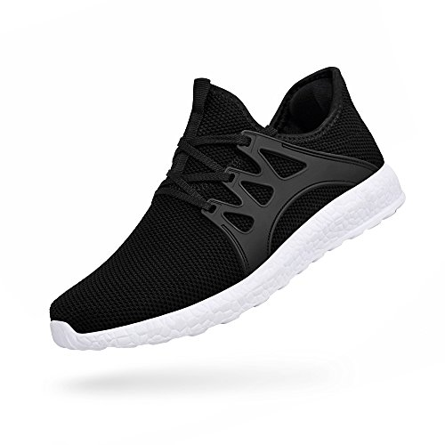 Troadlop Womens Sports Running Shoes Air Knitted Lightweight Fashion Sneakers, Black 2-7 US