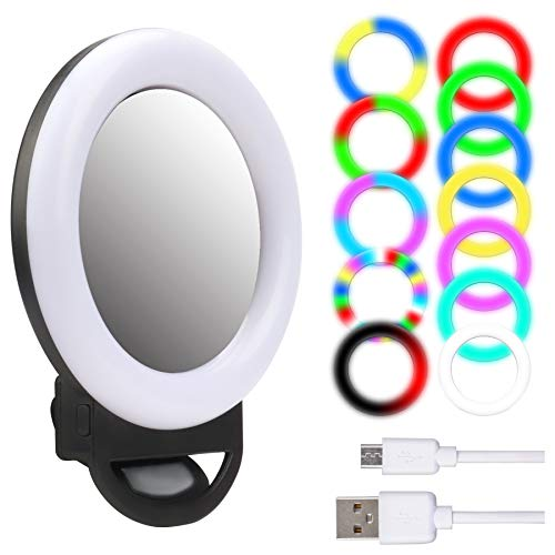 Upgraded RGB Selfie Ring Light, Mini LED Clip on Circle Ring Light with Makeup Mirror for Phone Camera Video Recording Live Stream Photography Lighting (13 Light Mode, AL20 Black)