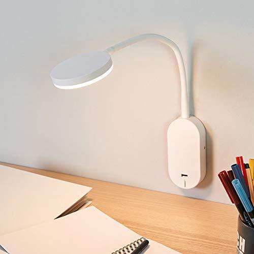 LED Lámpara de pared Milow con estación de carga USB (Moderno) en Blanco hecho de Plástico e.o. para Dormitorio (1 llama, A+) de Lindby   aplique LED, aplique