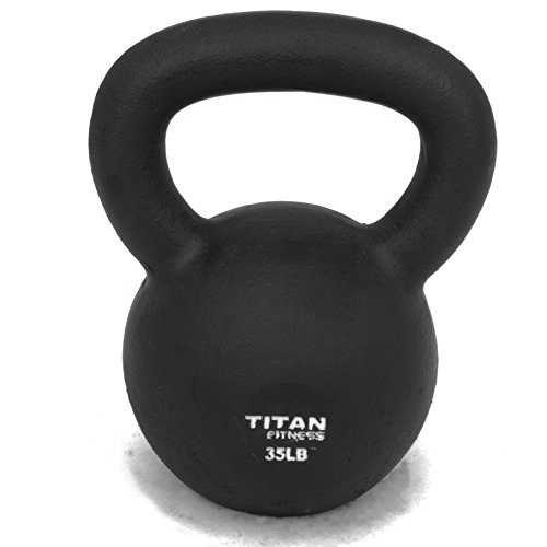 Titan Fitness Cast Iron Kettlebell Weight 50 lb Natural Solid Workout Swing