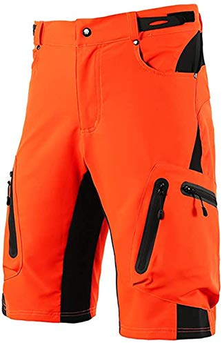 Cycling Shorts, Outdoor Sports Pants,Baggy No Padded Mountain Bike Shorts,Breathable Quick Dry Biking Pants,for Mountain Bike Downhill Sports (Orange,S)