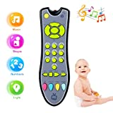 UOLIWO Baby TV Remote Control Toy with Light and Sound, Kids Musical Early Education Learning Realistic Remote Toy Preschool Education for 6 Months+ Infant Toddlers Boys Girls Child (Gray)