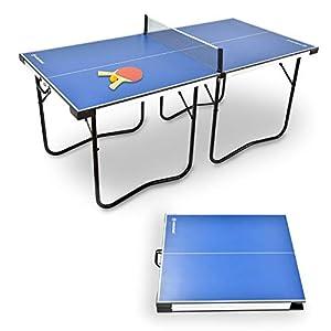 WIN.MAX Mesa de Ping Pong de tamaño Mediano Plegable (182x87 cm), Pre-ensamblado, Mini Mesa de Tenis de Mesa portátil con Red, 2 Palas y 2 Pelotas, fácil de almacenar