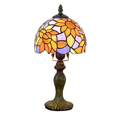 ShiSyan Dormitorio Flor Europea Sun Garden mediterránea lámpara de mesa de noche Mesa pequeña lámpara de mesa Bar Hotel personalidad de 8 pulgadas de la lámpara mediterránea (8' de ancho 14' Altura) L