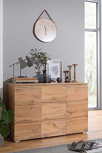 lifestyle4living Kommode in modernerm Honig-Eiche-Dekor, 2-TRG. Sideboard mit 2 Einlegeböden und 3 Schubladen, sorgt für viel Stauraum in jedem Ihrer Räume