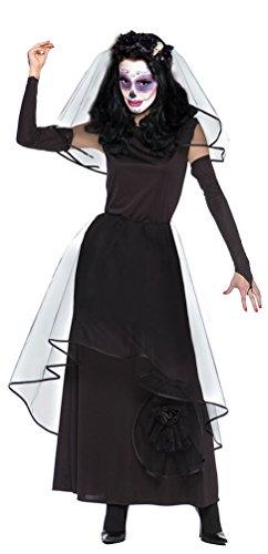 Karneval-Klamotten La Catrina Kostüm Kleid Dia de los Muertos Halloween Gothic Damen Kostüm Brautkleid inkl. Schleier + Handschuhe