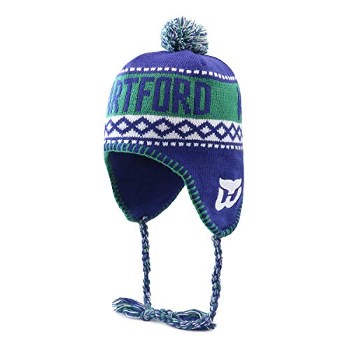 OTS NHL Hartford Whalers Men's Abenaki Sherpa Knit Cap with Pom, Team Color, One Size