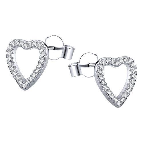 Aoedej Heart Sterling Silver Stud Earrings CZ Stud Earrings Stud Earrings Open Heart Small Stud Earrings for Women Girls (Style 7)