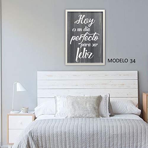 Cuadro con frase decoración salón o dormitorio moderno. con MARCO O LIENZO.Personalizado. Modelo'Hoy es un día perfecto.' Hecho a mano en España.
